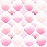 Ornamento de Morrocan de cores cor-de-rosa no fundo branco Teste padrão sem emenda da aquarela Imagens de Stock Royalty Free