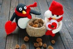Ornamento de Navidad, hecho a mano, la Navidad, muñeco de nieve Foto de archivo libre de regalías