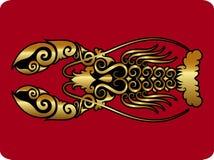Ornamento de oro de la langosta Fotos de archivo