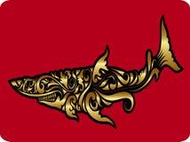Ornamento de oro del tiburón Fotos de archivo libres de regalías