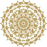 Ornamento de oro de la mandala del contorno del vector Modelo redondo oriental foto de archivo