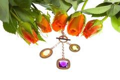 Ornamento de Rosa e de joalheiro Imagem de Stock Royalty Free
