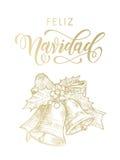 Ornamento de saludo español de la campana del oro de Feliz Navidad Merry Christmas Imagen de archivo