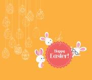 Ornamento de suspensão dos ovos da páscoa com cartão do coelho ilustração stock