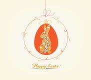 Ornamento de suspensão dos ovos da páscoa com cartão do coelho ilustração royalty free