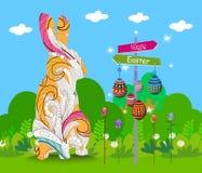 Ornamento de suspensão dos ovos da páscoa com o cartão do coelho da garatuja ilustração do vetor