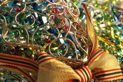 Ornamento de vime do Natal com grânulos fotos de stock royalty free