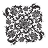 Ornamento decorativo astratto con il fiore, illustrazione di vettore Immagini Stock