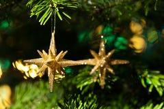 Ornamento decorativo de la estrella del oro Imagen de archivo libre de regalías