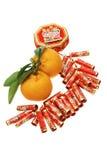 Ornamento del Año Nuevo y mandarinas chinos Foto de archivo