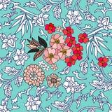 Ornamento del azul del estilo chino y blanco stock de ilustración