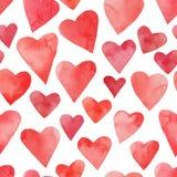 Ornamento del biglietto di S. Valentino con i cuori dell'acquerello Fotografia Stock Libera da Diritti