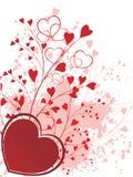 Ornamento del biglietto di S. Valentino con le cuore-figure Fotografia Stock