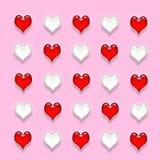 Ornamento del biglietto di S. Valentino. Cuori rossi e bianchi. Immagini Stock Libere da Diritti