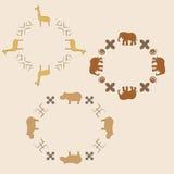Ornamento del círculo con los animales Fotos de archivo libres de regalías