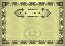 Ornamento del capítulo del oro del certificado Fotos de archivo libres de regalías
