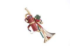 Ornamento del claxon de la Navidad del oro Imagen de archivo