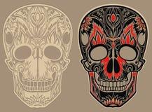 Ornamento del cráneo (coloreado) ilustración del vector