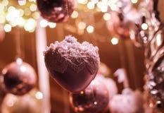 Ornamento del cuore della decorazione di Natale Fotografie Stock Libere da Diritti