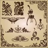 Ornamento del diseño de los elementos y de las esquinas de Art Nouveau Imágenes de archivo libres de regalías