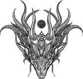 Ornamento del drago della testa del materiale illustrativo royalty illustrazione gratis