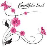 Ornamento del fiore con la farfalla Immagine Stock