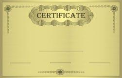 Ornamento del oro del certificado Imagen de archivo