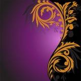 Ornamento del oro en un fondo negro y púrpura stock de ilustración