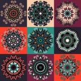 Ornamento del pizzo del cerchio, geometrico ornamentale rotondo Immagine Stock