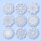 Ornamento del pizzo del cerchio, geometrico ornamentale rotondo Immagini Stock