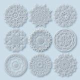 Ornamento del pizzo del cerchio, geometrico ornamentale rotondo Immagine Stock Libera da Diritti
