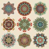 Ornamento del pizzo del cerchio, geometrico ornamentale rotondo Fotografie Stock