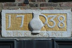 Ornamento del timpano con testo fotografia stock