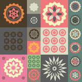 Ornamento del vector de diversos símbolos de la flor Foto de archivo libre de regalías