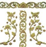 Ornamento del vintage plateado oro floral, Fotos de archivo