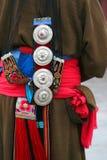 Ornamento dell'abbigliamento della signora tibetana Immagine Stock