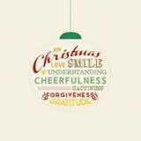 Ornamento dell'albero di Natale con le parole magiche Immagini Stock Libere da Diritti