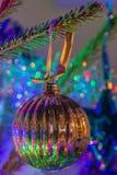Ornamento dell'albero di Natale dell'oro Fotografia Stock Libera da Diritti