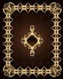 Ornamento dell'oro su una priorità bassa marrone Fotografie Stock Libere da Diritti