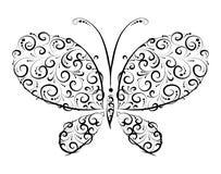 Ornamento della siluetta della farfalla Fotografia Stock