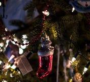 Ornamento di Cat In Stocking Christmas Tree Fotografia Stock