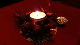 Ornamento di Christmasa con la candela Fotografia Stock