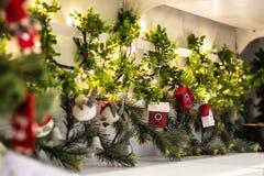 Ornamento di legno della casa della decorazione dell'albero di Natale Immagine Stock Libera da Diritti