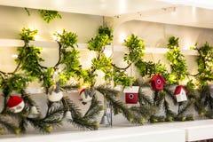 Ornamento di legno della casa della decorazione dell'albero di Natale Fotografia Stock