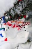 Ornamento di Natale dei pupazzi di neve Fotografia Stock
