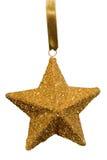 Ornamento di natale della stella dell'oro Fotografie Stock Libere da Diritti