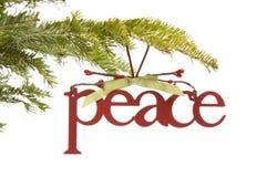 Ornamento di pace sulla filiale dell'albero di Natale fotografia stock libera da diritti