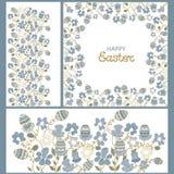 Ornamento di Pasqua Fiori della pagina ed uova di paschals Fotografia Stock