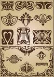 Ornamento di progettazione degli elementi e degli angoli di Art Nouveau Fotografia Stock Libera da Diritti