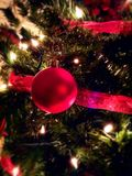 Ornamento di vetro rosso dell'albero di Natale Fotografie Stock